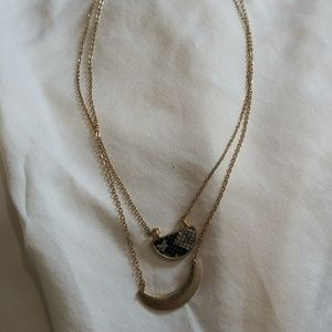 Crescent Shaped Layered Necklace with Snake Print